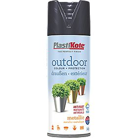 Plasti-Kote Outdoor Spray Paint Metallic Black 400ml