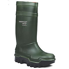 DUNLOP PUROFORT THERMO GREEN WELLINGTONS SIZE 8