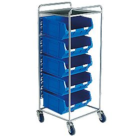 Container Trolley with 5 x TC6 Blue Containers