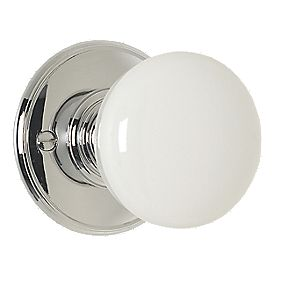 Delamain Porcelain Mortice Knob Pair White Polished Chrome 70mm Pack of 2