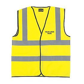 "Hi-Vis Waistcoat with Your Print on Back & Left Chest Pk10 Yellow "" Chest"