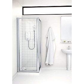 Mira Flight ACE Silver Square Pivot Shower Enclosure Door Silver Eff 800mm