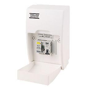 Volex Fully Insulated RCD Board Shower Unit 63A 30mA RCD