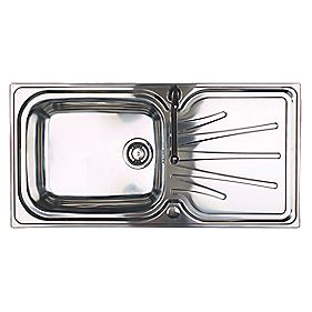 Astracast Korona Kitchen Sink Polished Stainless Steel 1 Bowl & Reversible Drainer 1000 x 220mm