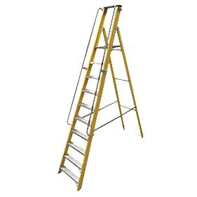 Lyte Platform Ladder with Safety Handrails Aluminium Alloy 10 Treads 2.73m