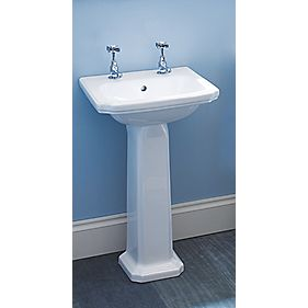 Dartmouth Full Pedestal Cloakroom Basin 2 Tap Holes 485mm