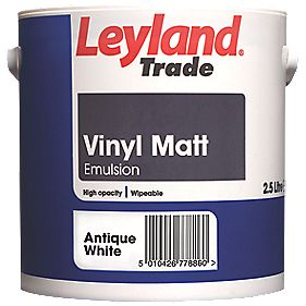 leyland trade vinyl matt emulsion paint antique white 2
