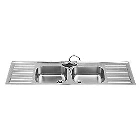 Franke Square Inset Kitchen Sink Stainless Steel 2 Bowl & 2 Drainers 1800 x 250mm
