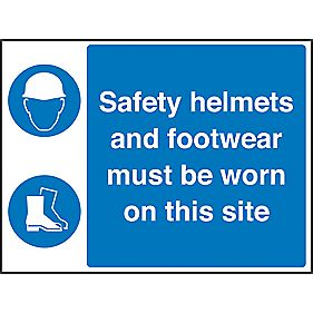 """Safety Helmets & Footwear Must Be Worn On This Site"" Sign 450 x 600mm"
