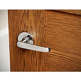 Lever on Rose Straight Door Handle Pack Polished Chrome