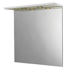 Bathroom Mirror & Light Canopy White Gloss 600 x 180 x 600mm