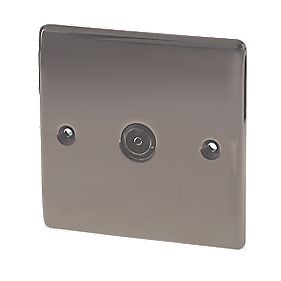 British General 1-Gang Coaxial TV Socket Black Nickel