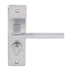 Jedo Frelan Delta Lever on Backplate WC Door Handles Pair Satin Chrome