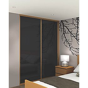 Sliding Wardrobe Doors Oak Effect Frame Black Glass Panel 2-Dr 1485x2330mm