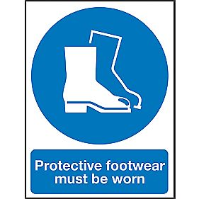 """Protective Footwear Must Be Worn"" Sign 400 x 300mm"