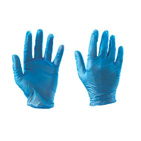 Cleangrip Vinyl Disposable Gloves Blue Large Pk100