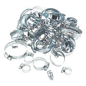 Blue Zinc-Plated Assorted Hose Clips 5 Sizes 60 Piece Set