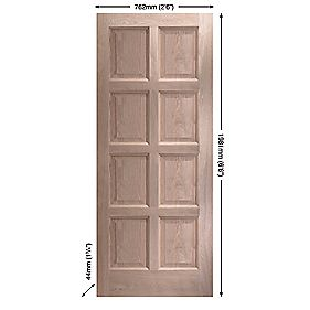Jeld-Wen Montoya Exterior Door Unfinished Oak Veneer 762 x 1981mm