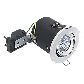 Sylvania Adjustable Round Mains Voltage Fire Rated Downlight White 240V