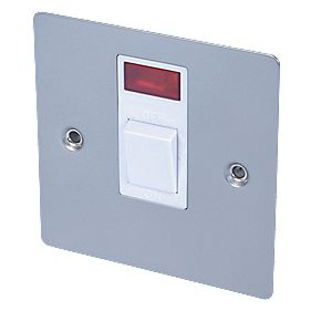 Volex 20A DP Switch + Neon Wht Ins Satin Chrome Flt Plt