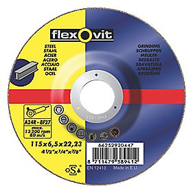 Flexovit Grinding Discs 115 x 6.5 x 22.23mm Pack of 5