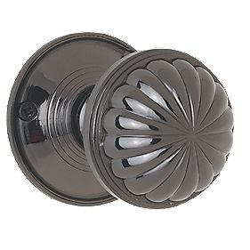 Jedo Fluted Mortice Knobs Pair Black Nickel