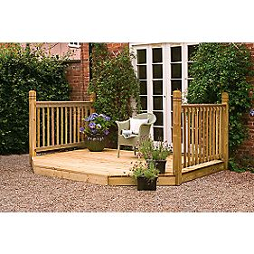 Forest Larchlap Patio Extension Decking Kit Base & Balustrade 3 x 2.4m