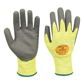 Marigold Industrial Puretough P3000 Cut 3 PU Nitrile Coated Gloves Grey / Yellow Large