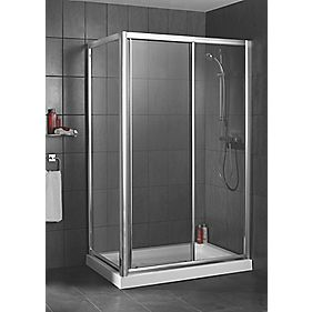 Swirl Chrome Shower Enclosure Side Panel 800 x 1850mm