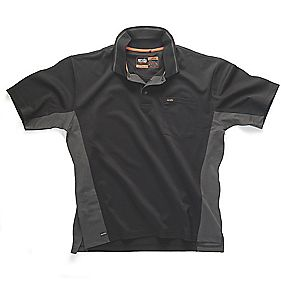SCRUFFS BLACK ACTION POLO SHIRT BLACK GREY XXL