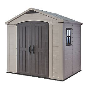 Keter Plastic Double Door Apex Shed 8' x 6' (Nominal)