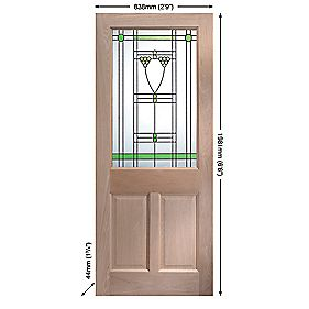Jeld-Wen Abington Single-Light Glazed Exterior Door Oak Veneer 838 x 1981mm
