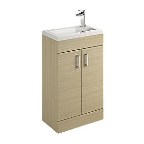 Bathroom Vanity Unit & Basin Oak Slab 500 x 300 x 81mm
