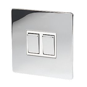 LAP 2-Gang 2-Way 10AX Light Switch Polished Chrome