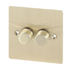 Volex 2-Gang 2-Way 250W M/LV Dimmer Brushed Brass Flt Plt