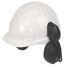 JSP EVO3 Comfort Plus Adjustable Safety Helmet with Ear Defenders White