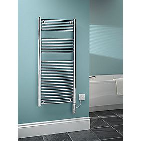 Kudox Curved Electric Thermo Towel Radiator Chrome 500 x 1100mm 250W 853Btu