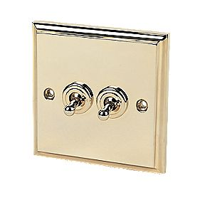 2-Gang 2-Way Toggle Switch Victorian Brass