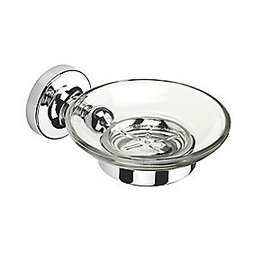 Croydex Flexi-Fix Worcester Soap Dish & Holder Chrome 110 x 128 x 54mm