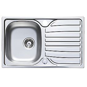 Astracast Cascade Kitchen Sink Satin Polish Stainless Steel 1 Bowl & Reversible Drainer 800 x 170mm