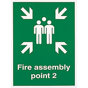 """Fire Assembly Point 2"" Sign 400 x 300mm"
