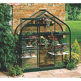 "Halls Supreme 62 Aluminium Greenhouse Green Toughened Glass 6'4"" x 2'4"""