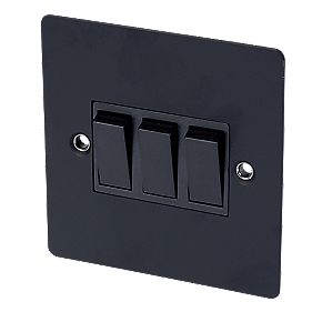 Volex 10A 3-Gang 2-Way Switch Blk Ins Matt Black Flat Plate
