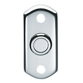 Carlisle Brass Shaped Door Bell Push Polished Chrome 74 x 35mm