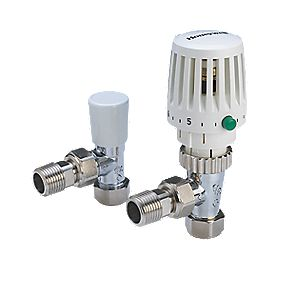 Honeywell Radplan 120 White & Chrome TRV 15mm Angled