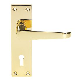 Victorian Straight Long Backplate Door Handle Lock Brass Effect