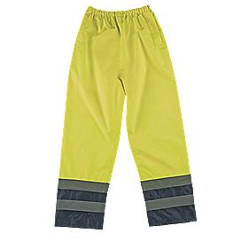 "Hi-Vis 2-Tone Trousers Elasticated Waist Yellow/Navy Large 26-46"" W 30"" L"