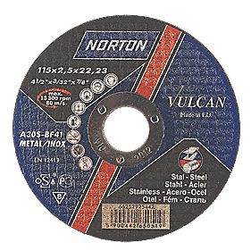 Norton Vulcan Metal Cutting Discs 115 x 2.5 x 22.23mm Bore Pack of 5