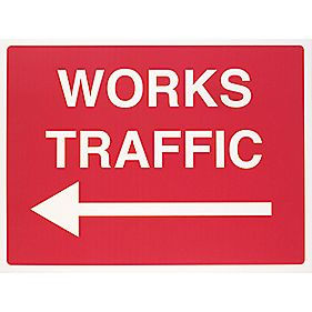 """Works Traffic"" Left Arrow Sign 450 x 600mm"