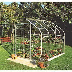 "Halls Supreme 86 Aluminium Greenhouse Toughened Glass 6'4"" x 8'5"""